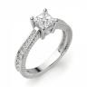 Кольцо с бриллиантом принцесса и паве по бокам, Изображение 3
