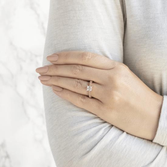 Кольцо с бриллиантом принцесса,  Больше Изображение 6