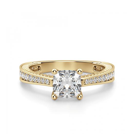 Помолвочное кольцо Кушон с боковыми бриллиантами, Больше Изображение 1