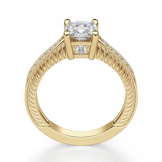 Помолвочное кольцо Кушон с боковыми бриллиантами,  Больше Изображение 2