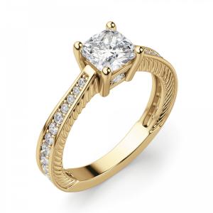 Помолвочное кольцо Кушон с боковыми бриллиантами