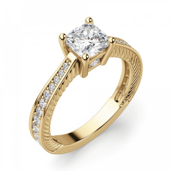 Помолвочное кольцо Кушон с боковыми бриллиантами,  Больше Изображение 3