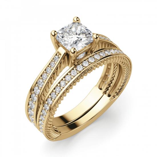 Помолвочное кольцо Кушон с боковыми бриллиантами,  Больше Изображение 4