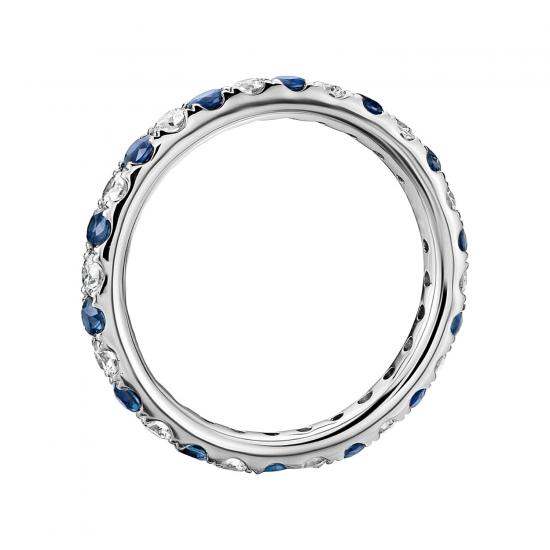 Кольцо дорожка с сапфирами и бриллиантами,  Больше Изображение 3