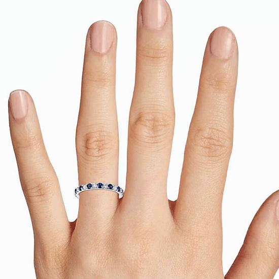 Кольцо дорожка с сапфирами и бриллиантами,  Больше Изображение 2
