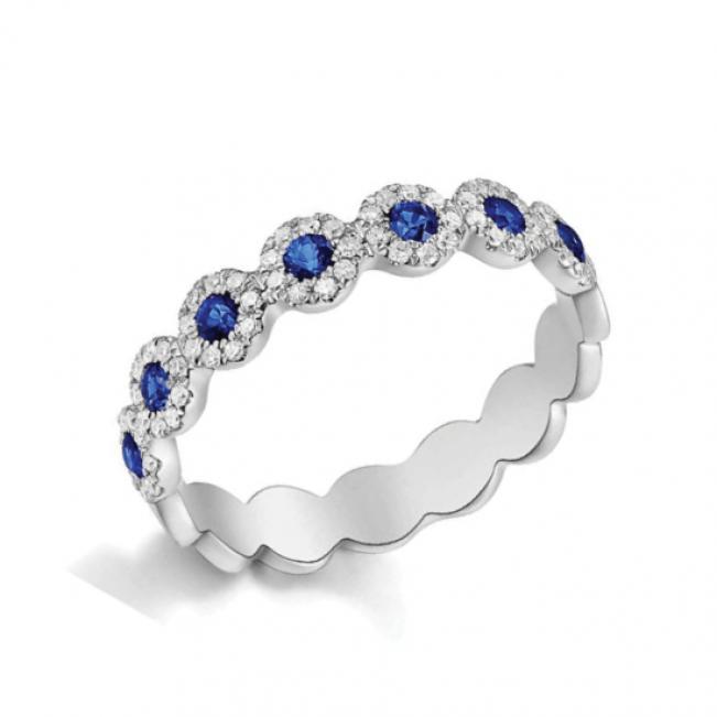 Кольцо дорожка с сапфиром и бриллиантами