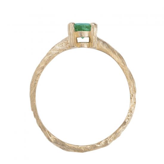 Кольцо с круглым изумрудом 0.50 карата,  Больше Изображение 2