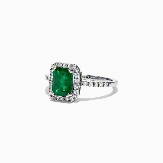 Кольцо с изумрудом и ореоле бриллиантов,  Больше Изображение 2