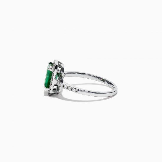 Кольцо с изумрудом и ореоле бриллиантов,  Больше Изображение 3