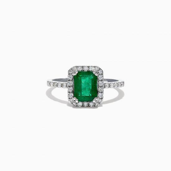 Кольцо с изумрудом и ореоле бриллиантов,  Больше Изображение 4