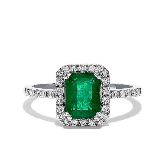 Кольцо с изумрудом и ореоле бриллиантов, Больше Изображение 1