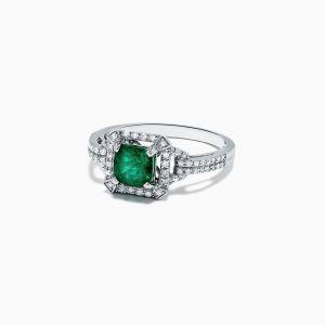 Кольцо с изумрудом и бриллиантами ар-деко