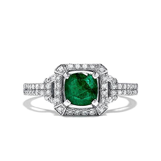 Кольцо с изумрудом и бриллиантами ар-деко, Больше Изображение 1
