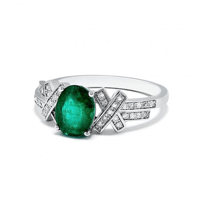 Кольцо с овальным изумрудом и бриллиантами