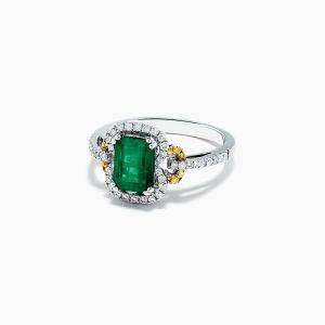 Кольцо с изумрудом и цветными бриллиантами