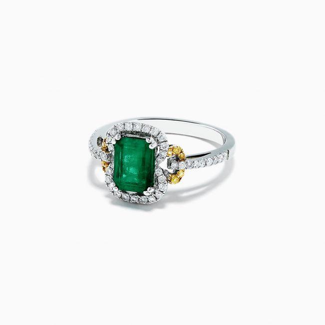 Кольцо с изумрудом и цветными бриллиантами - Фото 1