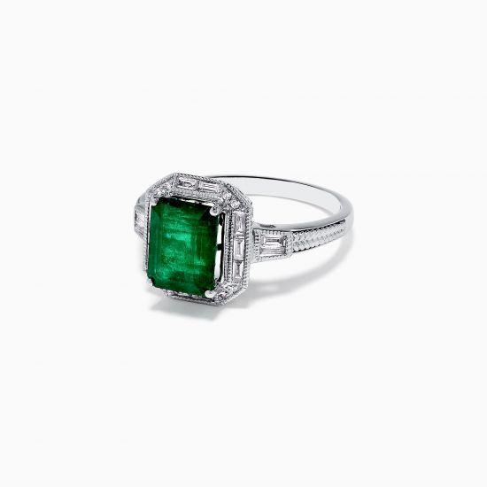 Кольцо с изумрудом и бриллиантами в стиле ар-деко,  Больше Изображение 2