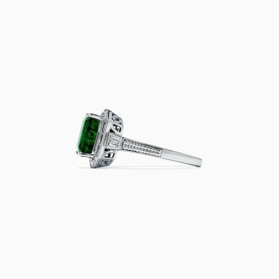 Кольцо с изумрудом и бриллиантами в стиле ар-деко,  Больше Изображение 3