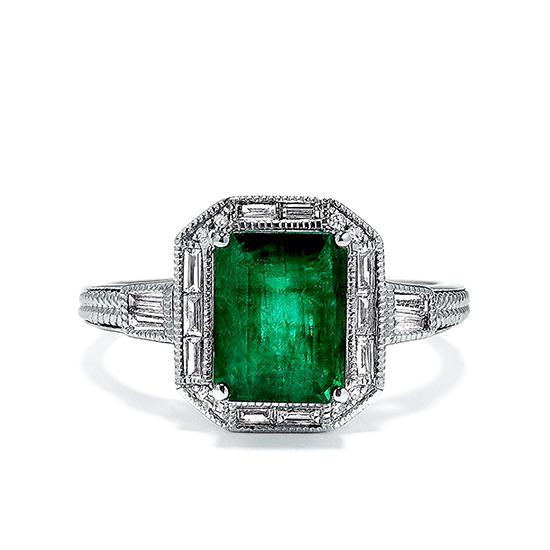 Кольцо с изумрудом и бриллиантами в стиле ар-деко, Больше Изображение 1