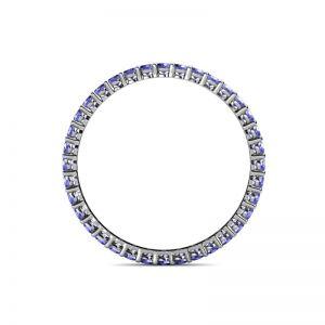 Тонкое кольцо дорожка из танзанитов по кругу