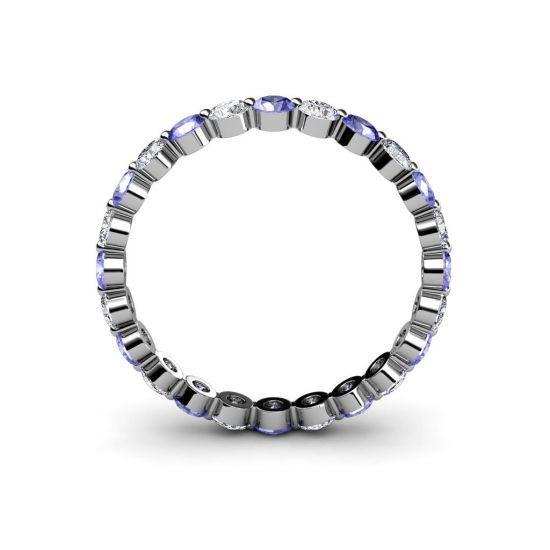Кольцо дорожка с чередованием танзанитов и бриллиантов,  Больше Изображение 4
