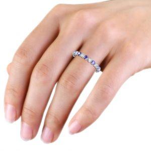 Кольцо дорожка с чередованием танзанитов и бриллиантов