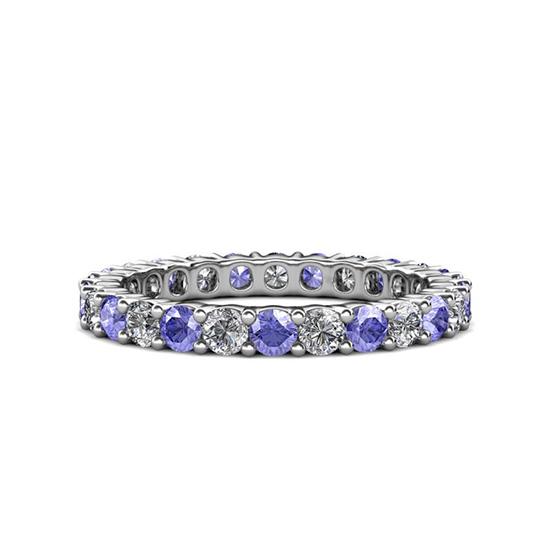 Кольцо дорожка 3 мм из танзанитов и бриллиантов, Больше Изображение 1