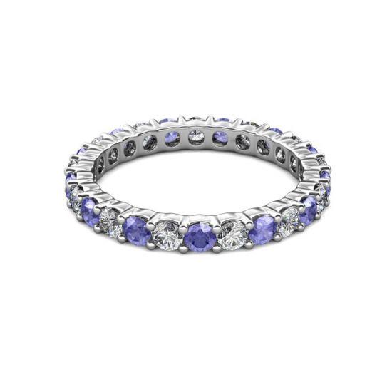 Кольцо дорожка 3 мм из танзанитов и бриллиантов,  Больше Изображение 6