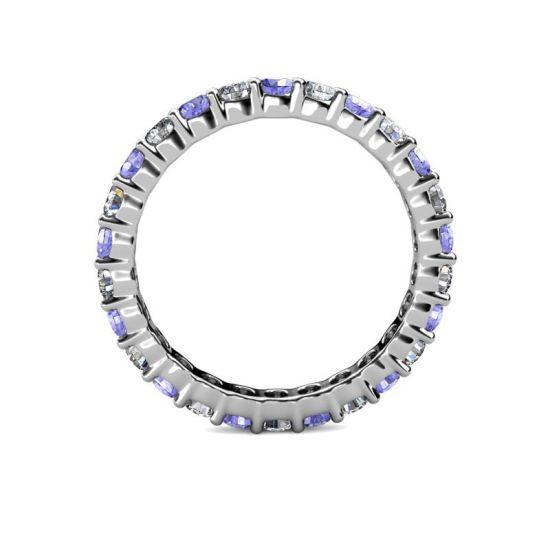 Кольцо дорожка 3 мм из танзанитов и бриллиантов,  Больше Изображение 2