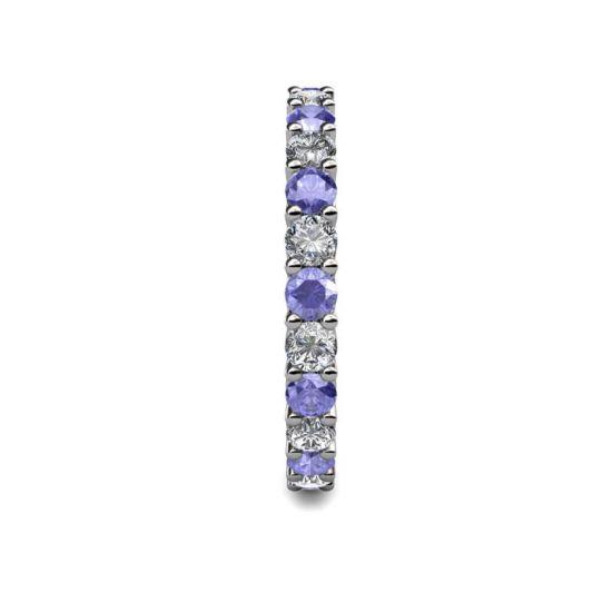 Кольцо дорожка 3 мм из танзанитов и бриллиантов,  Больше Изображение 3