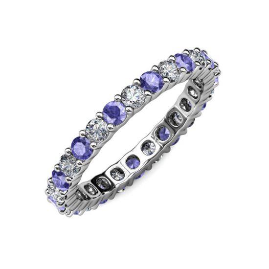 Кольцо дорожка 3 мм из танзанитов и бриллиантов,  Больше Изображение 5