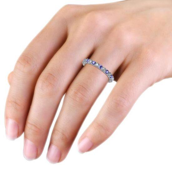 Кольцо дорожка 3 мм из танзанитов и бриллиантов,  Больше Изображение 4