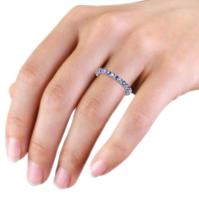 Кольцо дорожка 3 мм из танзанитов и бриллиантов