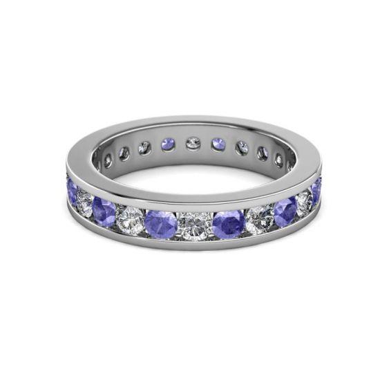 Кольцо дорожка из танзанитов и бриллиантов в канальной закрепке,  Больше Изображение 4