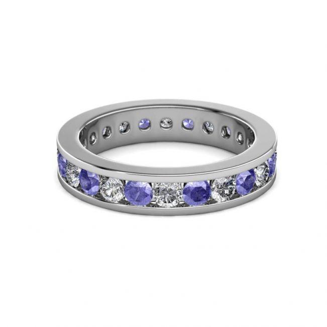 Кольцо дорожка из танзанитов и бриллиантов в канальной закрепке - Фото 3