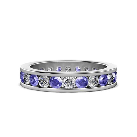 Кольцо дорожка из танзанитов и бриллиантов в канальной закрепке, Больше Изображение 1