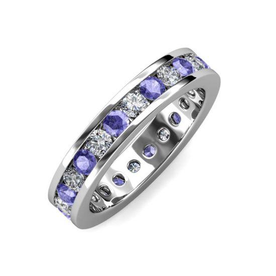 Кольцо дорожка из танзанитов и бриллиантов в канальной закрепке,  Больше Изображение 2
