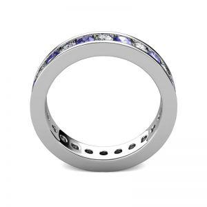 Кольцо дорожка из танзанитов и бриллиантов в канальной закрепке