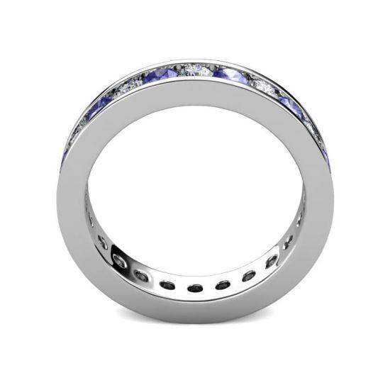 Кольцо дорожка из танзанитов и бриллиантов в канальной закрепке,  Больше Изображение 3