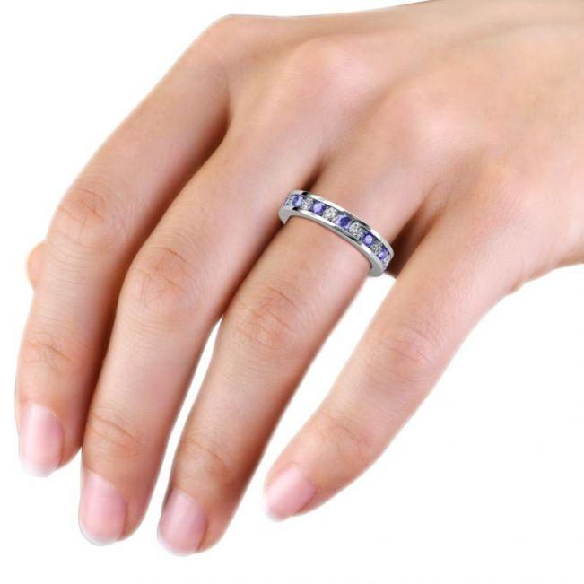 Кольцо дорожка из танзанитов и бриллиантов в канальной закрепке - Фото 5