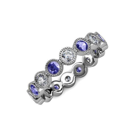 Кольцо дорожка из танзанитов и бриллиантов,  Больше Изображение 2