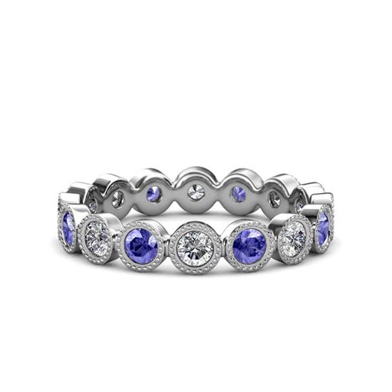 Кольцо дорожка из танзанитов и бриллиантов, Больше Изображение 1