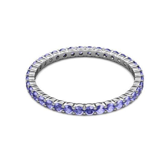 Тонкая дорожка кольцо из танзанитов,  Больше Изображение 5