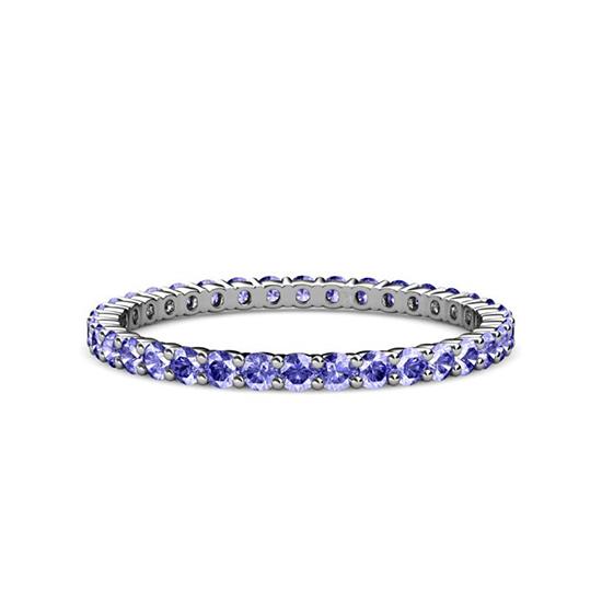 Тонкая дорожка кольцо из танзанитов, Больше Изображение 1