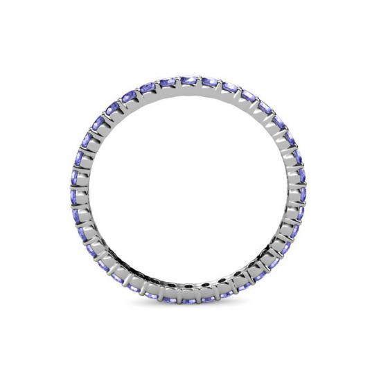 Тонкая дорожка кольцо из танзанитов,  Больше Изображение 2