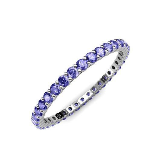Тонкая дорожка кольцо из танзанитов,  Больше Изображение 3