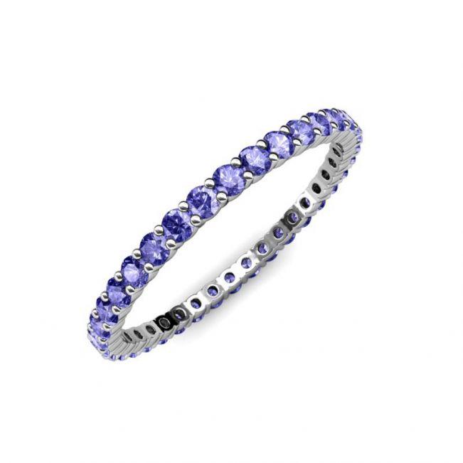 Тонкая дорожка кольцо из танзанитов