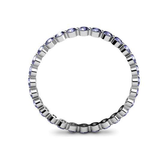 Тонкое кольцо дорожка из танзанитов,  Больше Изображение 2