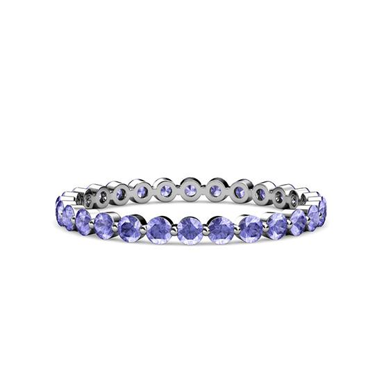 Тонкое кольцо дорожка из танзанитов, Больше Изображение 1