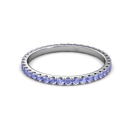 Тонкое кольцо дорожка из танзанитов,  Больше Изображение 5